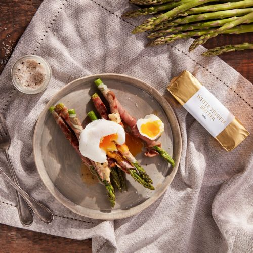 Grilled Asparagus with Poached Egg & White Truffle Butter