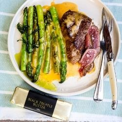 Steak and Asparagus with Truffle Hollandaise