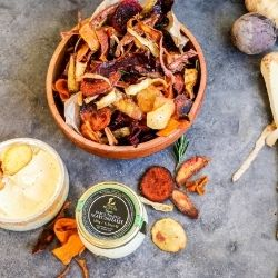 Root Veg Crisps with Black Truffle Mayonnaise