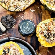 Stuffed Squash with Truffle and Chestnut Crumble