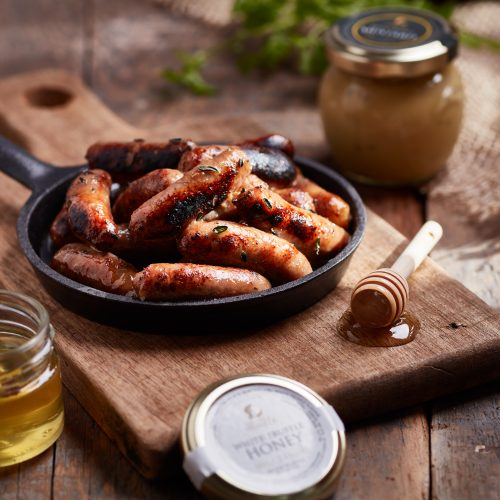 Sausages with Black Truffle Mustard and Honey