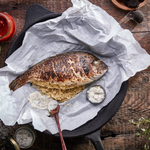 Sea Bream Stuffed with Black Truffle Cous-Cous